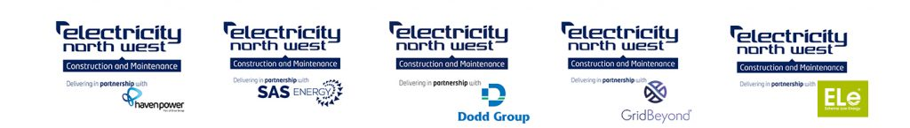 ENWCML Logos in partnership with Havenpower/Drax, SAS Energy, Dodd Group, GridBeyond and Ele.